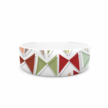 "Michelle Drew ""Bowties"" Red Maroon Pet Bowl"