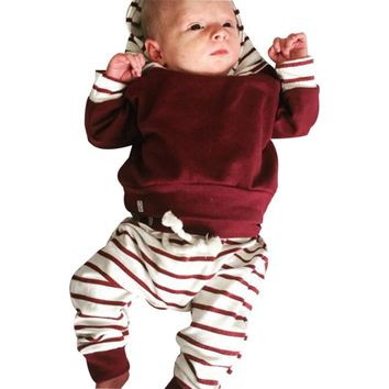 Newborn Kids Baby Boys Clothing Outfits 2pcs hooded Tops+Pants Baby Boy Clothes set Hoodies Tracksuit Set