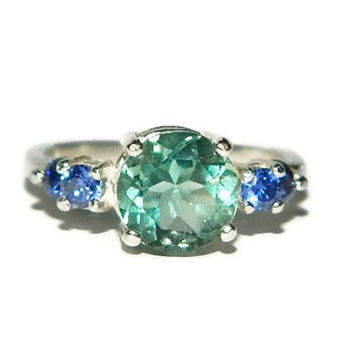 Green Fluorite Ring, Sterling Silver, Multi Stone Accent Ring