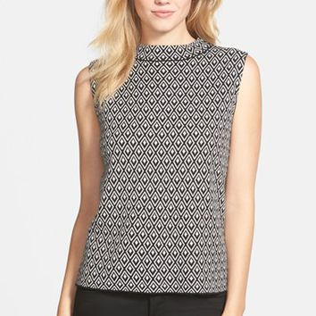 Women's Vince Camuto Sleeveless Double Jacquard Mock Neck Sweater ,