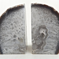 Natural Quartz Crystal Agate Bookends, Natural Stone Book Ends