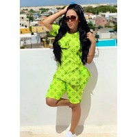 LV Louis Vuitton Fashion New Monogram Print Sports Leisure Top And Shorts Two Piece Suit Fluorescent Green