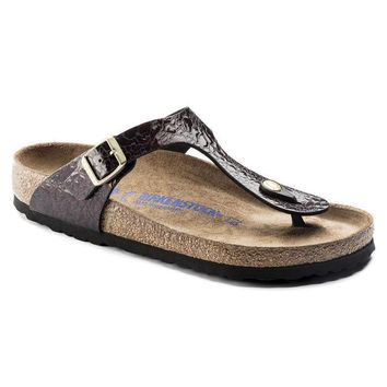 Sale Birkenstock Gizeh Soft Footbed Birko Flor Myda Wine 1006622 Sandals