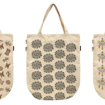 Women Aztec Patterns Printed Canvas Tote Shoulder Bags WAS_39