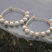 Pearl Gold Hoops, Small Hoop Earrings for a Bohemian Wedding or Bridesmaids Gift. Elegant Wire Jewelry