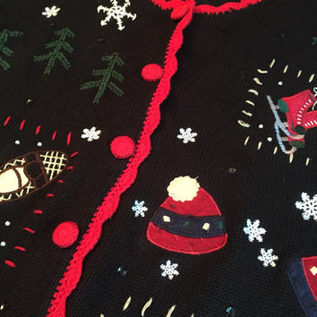Ugly Christmas Sweater, Men's or Woman's Size Medium,1990's vintage Knit Cardigan, Mittens, Ice Skates, Mittens, Christmas Trees, Snowflakes