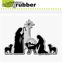stampendous christmas cling stamp, manger scene