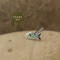 CARTILAGE french fish sterling silver/ tragus fish/ cartilage earring/ tragus /gold tragus earring/ cartilage gold/ nose studs/ tragus stud