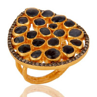 925 Silver Blue Sapphire Slice Diamond Texture Finished 18k Gold Vermeil Ring