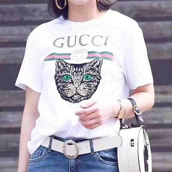 GUCCI 2018 Trending Women Loose Sequin Cat Embroidery Shirt Tunic Blouse Top T-Shirt(3-Color)