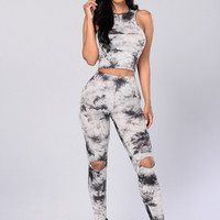 All Tyed Up Crop Top - Charcoal