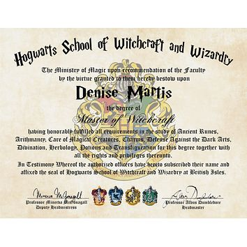 Personalized Harry Potter Diploma - Hogwarts School of Witchcraft and Wizardry Degree