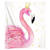 Pink Flamingo Princess Fabric Wall Tapestry
