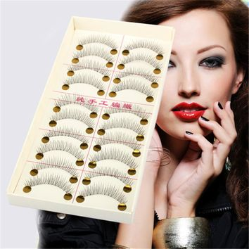 10 Pairs False Eyelashes Natural Long Thick Fake Charming Eyes Makeup Tool