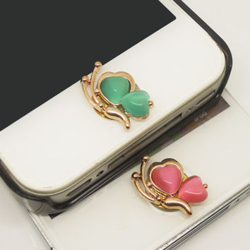 1PC Manmade Cat's Eye Elegent Flying Butterfly iPhone Home Button Sticker Charm for iPhone 4,4s,4g,5,5c Cell Phone Charm Valentine Gift