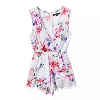 Women's Fashion Cotton Print V-neck Sleeveless High Rise Slim Shorts Jumpsuit [4917774340]