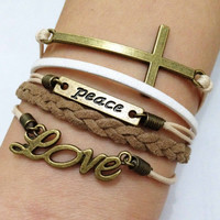 Cross, Peace & Love Bracelet--Antique Bronze Bracelet--Wax Cords and Imitation Leather Bracelet, Free Gift Box