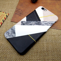Patchwork Marble Stone Case Personal Tailor Cover for iPhone 7 7 Plus & iPhone 5s se & iPhone 6 6s Plus + Gift Box