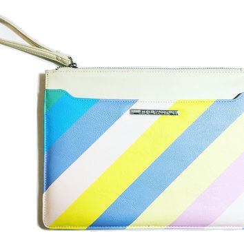 Pastel Rainbow and Mint Zipper Clutch Set by Steve Madden