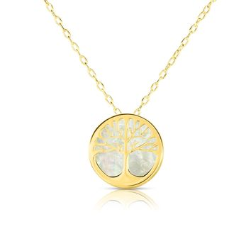 14K Yellow Gold Mother Of Pearl Tree Of Life Pendant Necklace, 16""