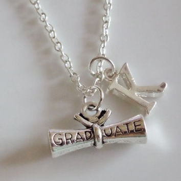 Initial necklace, graduate necklace, diploma necklace gift, degree gift, best friend necklace, silver chain necklace, friendship gift