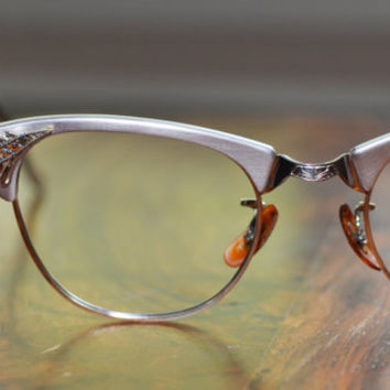 Artcraft Rhinestone Silver Cat Eyeglasses Vintage 44/20 USA Gold Filled
