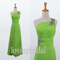 2014 Long Bud Green Chiffon Prom Dress Bridesmaid Dress Party Dress Simple Homecoming Dress Formal Prom Dress Custom