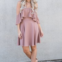 Simone Off The Shoulder Dress (Mauve)