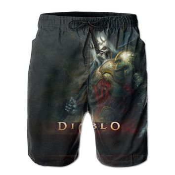 Video Game Diablo 3 King Leoric Poster Mens Fashion Casual Beach Shorts