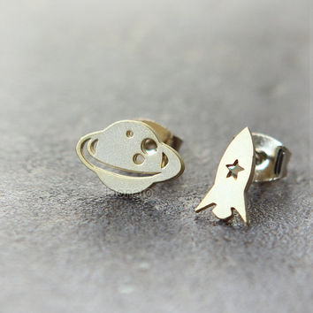 Planet and Rocket Earrings / choose your color, gold and silver