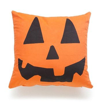EHOMEBUY New 2018 Cushion Cover Halloween Pumpkin Smiling Face Home Seat Sofa Decoration Cover For Cushion Printing Pillow Cases