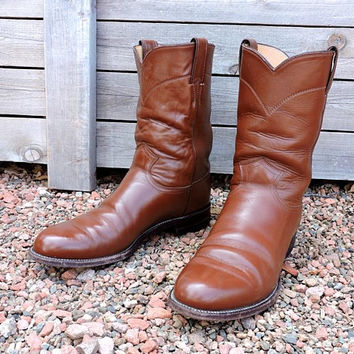 Justin boots mens 9.5 D  /  Justin Ropers USA / vintage cowboy boots / brown leather western boots
