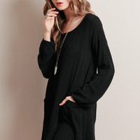 Casual Long Sleeve Chiffon Cut Out Back Mini Dress