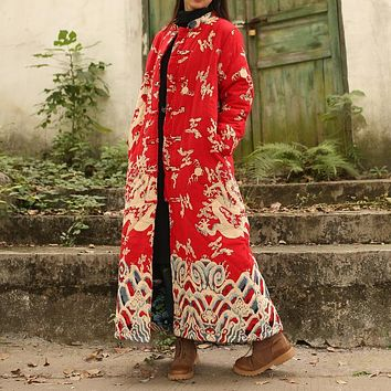 National Wind Women Loose Vintage Chinese Style Clouds and Dragons Print Cotton Linen Long Maxi Trench Coat