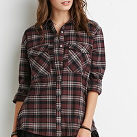 Lace-Trimmed Plaid Shirt
