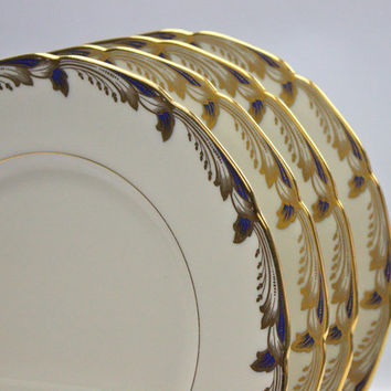 Lenox China Dinner Plates / Essex Cobalt Blue / SETS of 4