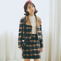 Long Sleeve Notched Collar Plaid Matching Set