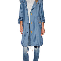 MiH Jeans The Oversize Parka in Blue Chambray