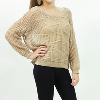Knitted fishnet mesh batwing sweater top Khaki