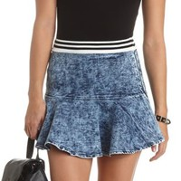 Acid Wash Fluted Skater Skirt by Charlotte Russe