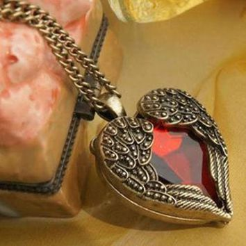 Antiqued Angel Wings Jeweled Heart Necklace