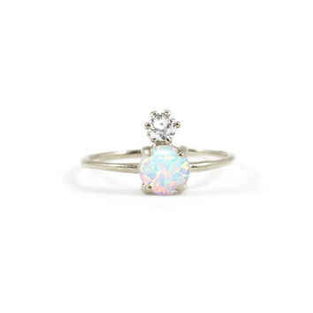 Double Dose Ring (opal and diamond)