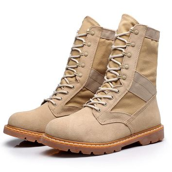 2016 Women boots Genuine Leather Tactical working Combat Military Boots Suede Stitching Canvas Plus Size 36-45