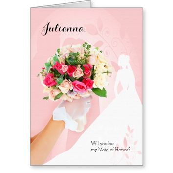 Maid of Honor Invitation in Pink and White Stationery Note Card