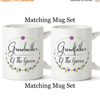Coffee Mug, Grandfather And Grandmother Of The Bride Set, Floral Wreath Wedding Party Gifts, Design,