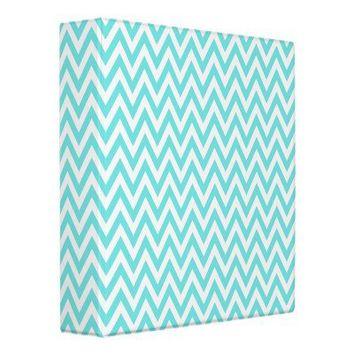 Trendy chic aqua blue chevron zigzag pattern binders from Zazzle.com
