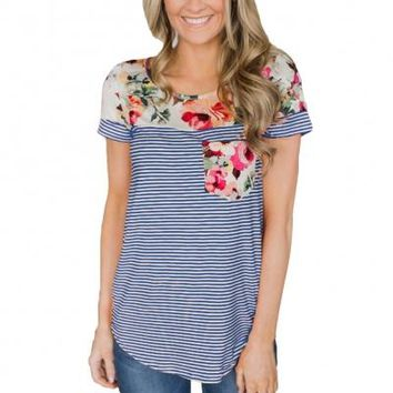 Floral & Stripes Patchwork Pocket Tee