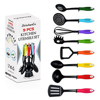 9-Piece Kitchen Utensils Home Cooking Tools, Kitchen Accessories, Multi-Colored Gadgets Gift Set - Spoon, Slotted Spoon, Masher, Skimmer, Whisk, ladle, Pasta Spoon, Slotted Turner with Rotatable Stand