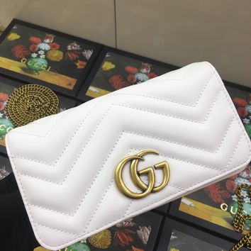 Kuyou Gb99822 Gucci 488426 Gg Marmont Small Matelass¨¦ Chain Pink Shoulder Bag With A Heart On The Back 18*10.5*4.5cm