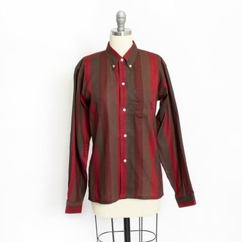 Vintage 1950s Blouse - Red & Green Stripe Sanforized Cotton Button Up Shirt Collared - Medium